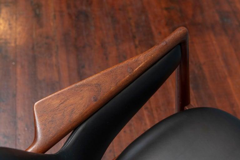Leather Ib Kofod-Larsen Teak Lounge Chair for Christensen & Larsen For Sale