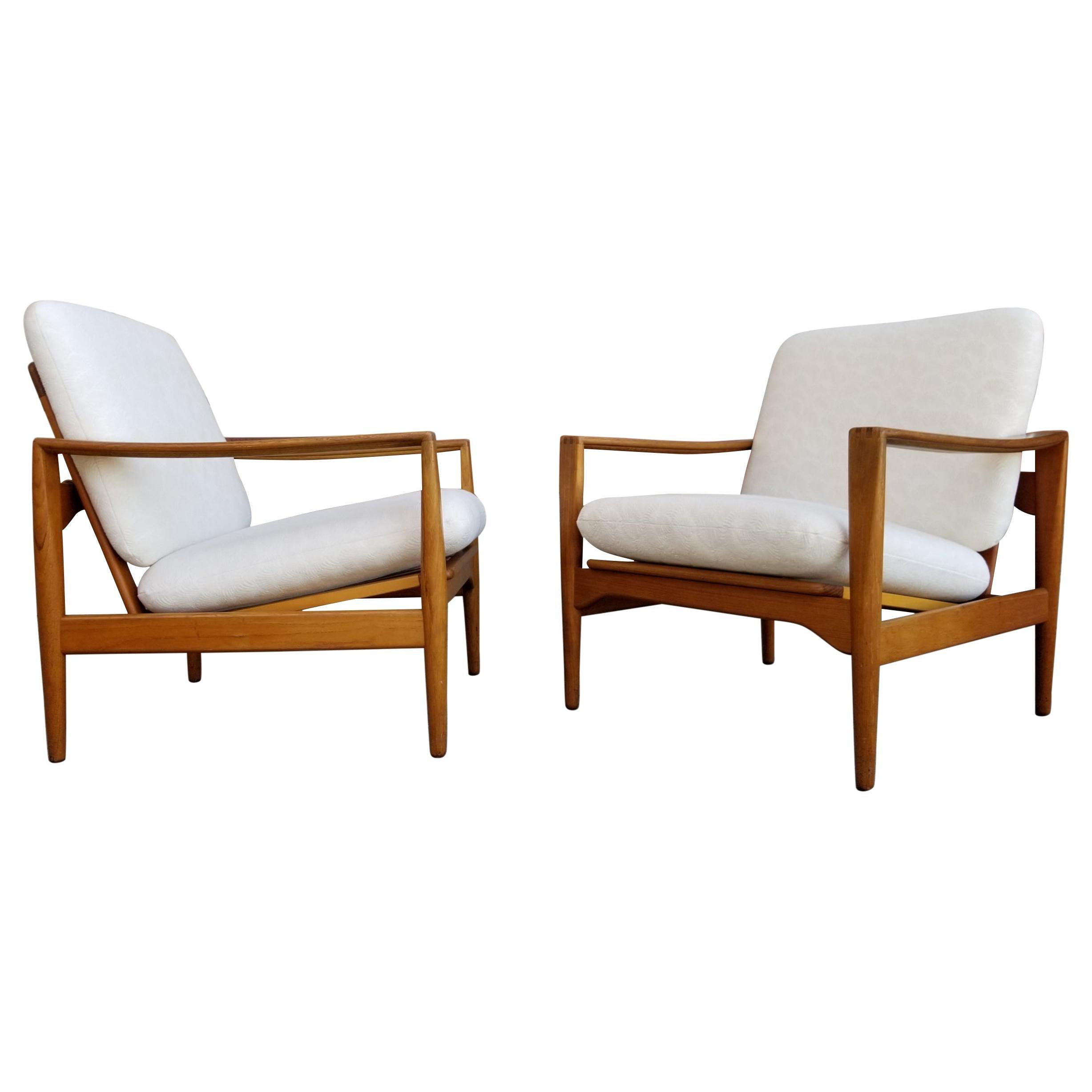 Ib Kofod Larsen Teak Lounge Chairs Pair