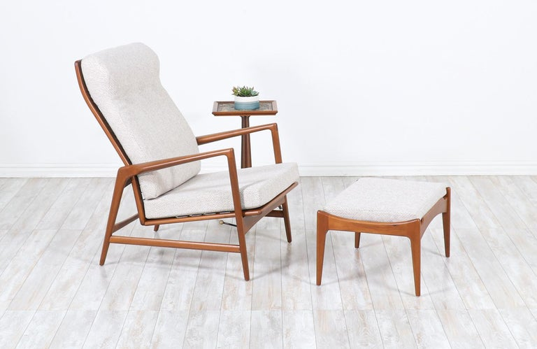 """Ib Kofod-Larsen teak reclining lounge chair with ottoman for Selig.  Chair:  38""""H x 29""""W x 32""""D Seat Height 16.50""""  Ottoman: 14.5""""H x 24""""W x 18""""D"""