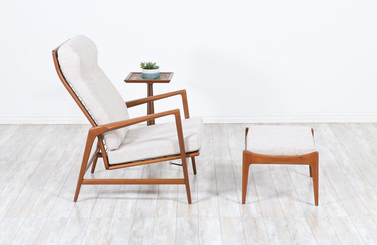 Mid-Century Modern Ib Kofod-Larsen Teak Reclining Lounge Chair with Ottoman for Selig For Sale