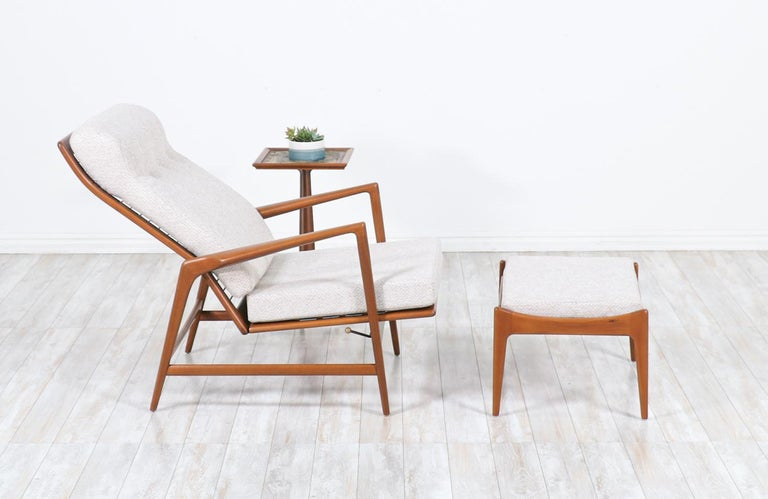 Danish Ib Kofod-Larsen Teak Reclining Lounge Chair with Ottoman for Selig For Sale