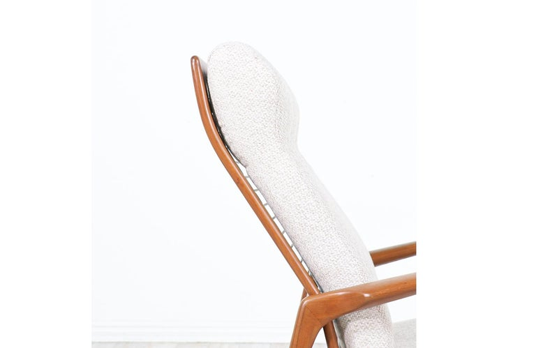 Ib Kofod-Larsen Teak Reclining Lounge Chair with Ottoman for Selig For Sale 3