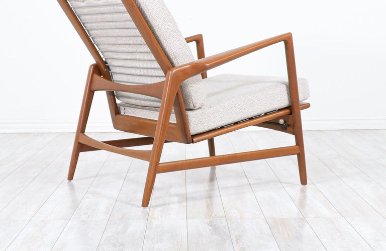Ib Kofod-Larsen Teak Reclining Lounge Chair with Ottoman for Selig For Sale 4