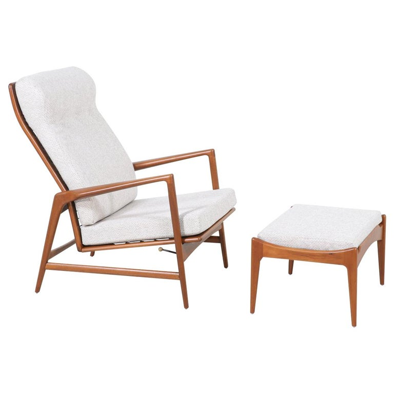 Ib Kofod-Larsen Teak Reclining Lounge Chair with Ottoman for Selig For Sale