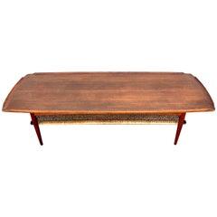 Ib-Kofod Larsen, Two-Tier Teak Surfboard Coffee Table with Caned Shelf