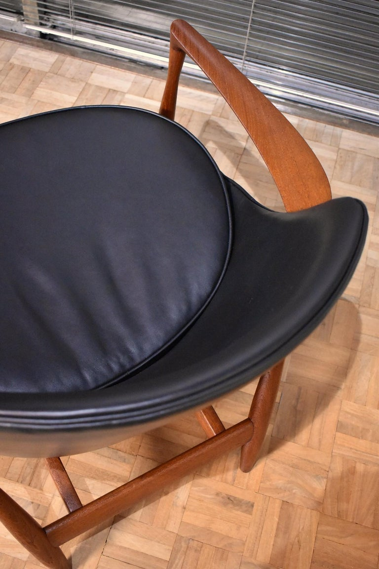 Leather Ib Kofod-Larsen U-56 Elizabeth Chair for Christensen & Larsen For Sale