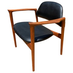 IB Kofod-Larsen Writing Chair in Teak with Leather Upholstery