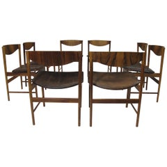 I.B Kofoed Larsen for Saffle Rosewood Dining Chairs, Set of 8