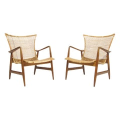 Ib Kofoed-Larsen for Selig Cane Lounge Chairs