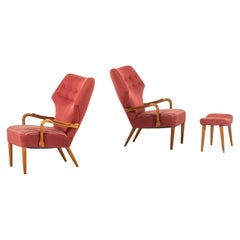 Ib Madsen & Acton Schubell Attributed Pair of Easy Chairs Produced in Denmark