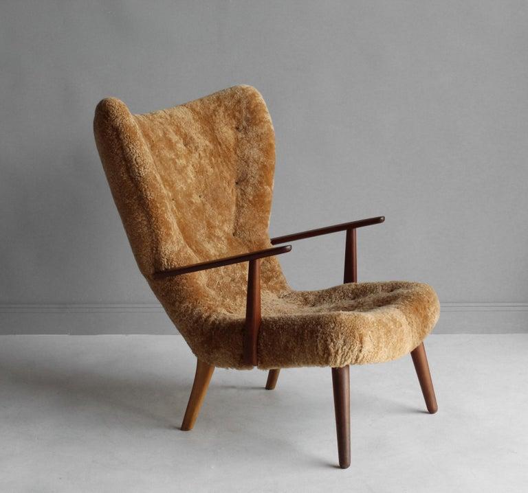 Scandinavian Modern Ib Madsen & Acton Schubell, Lounge Chair, Sheepskin, Teak, Beech, Denmark, 1950s For Sale