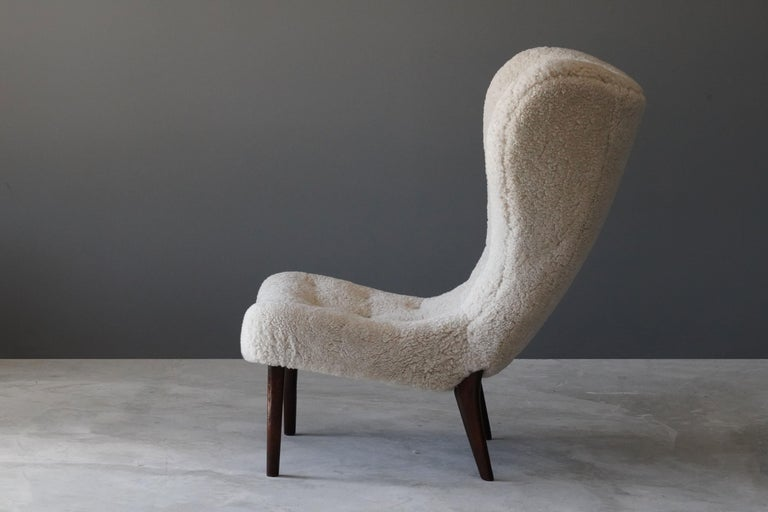 Scandinavian Modern Ib Madsen & Acton Schubell, Lounge Chair, Sheepskin, Teak, Beech, Denmark, 1950s For Sale
