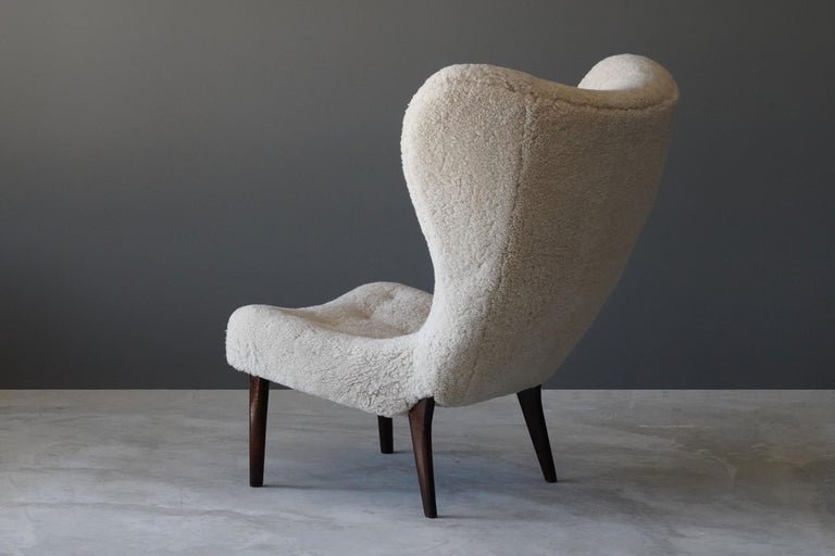 Danish Ib Madsen & Acton Schubell, Lounge Chair, Sheepskin, Teak, Beech, Denmark, 1950s For Sale