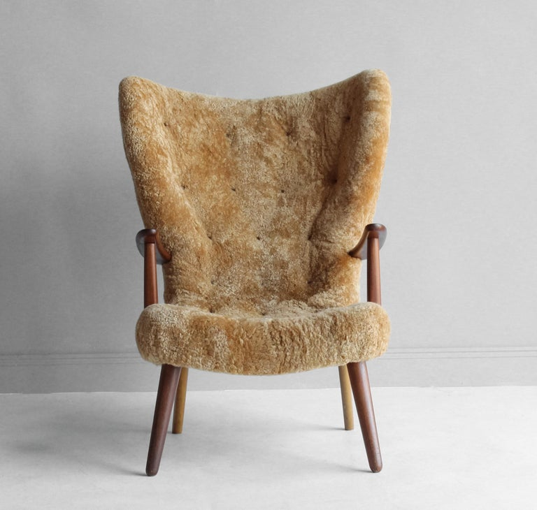 Ib Madsen & Acton Schubell, Lounge Chair, Sheepskin, Teak, Beech, Denmark, 1950s For Sale 1