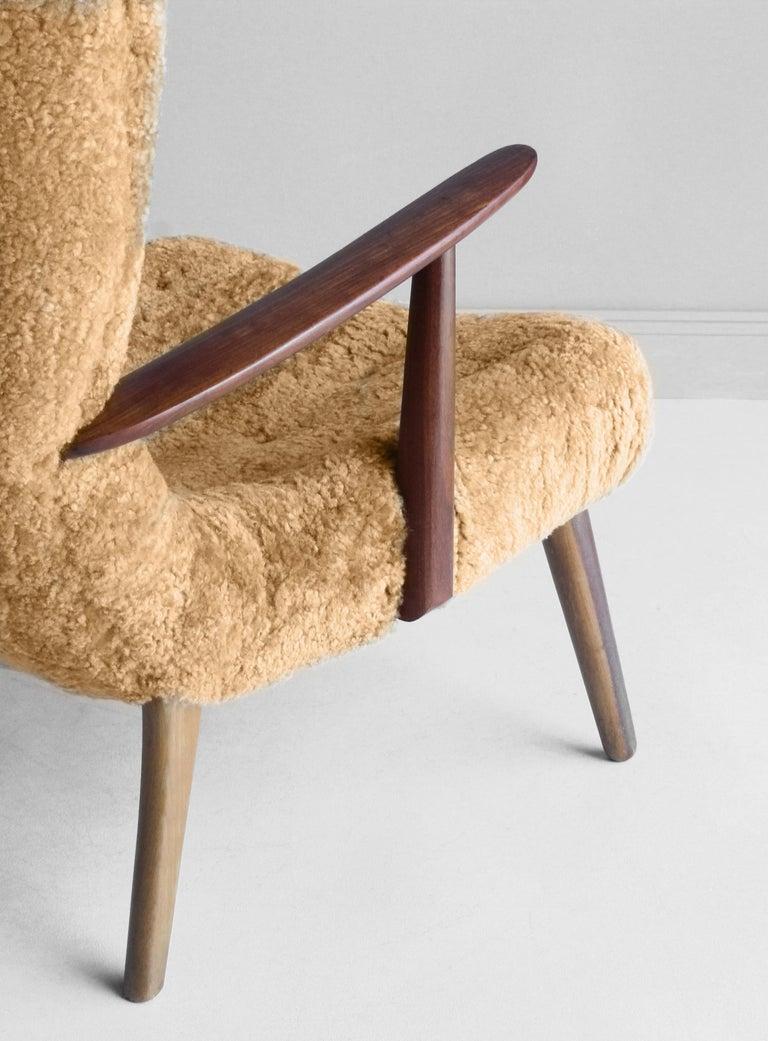 Ib Madsen & Acton Schubell, Lounge Chair, Sheepskin, Teak, Beech, Denmark, 1950s For Sale 2