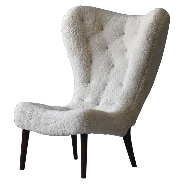 Ib Madsen & Acton Schubell, Lounge Chair, Sheepskin, Teak, Beech, Denmark, 1950s For Sale