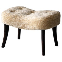 Ib Madsen & Acton Schubell, Organic Stool, Stained Wood, Sheepskin Denmark 1950s