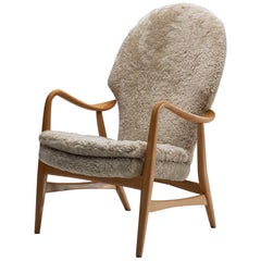 Ib Madsen and Acton Schubell Highback Chair, Denmark, 1950s