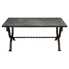 Iberian Vintage Marble and Iron Cocktail Table