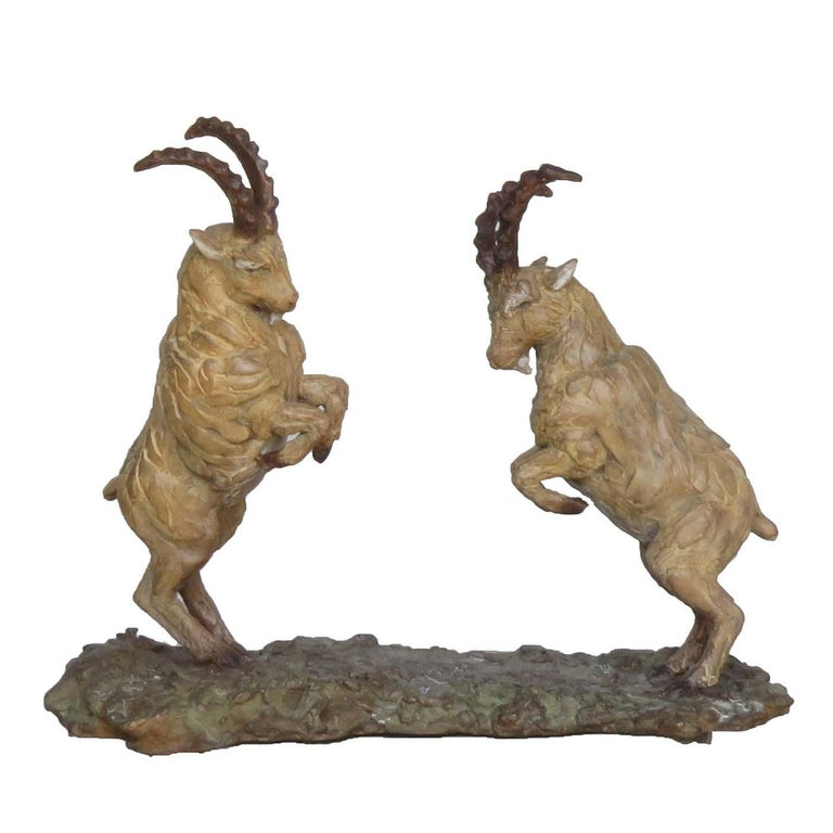 Italian Ibex Rutting Sculpture For Sale
