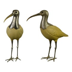 Ibis Bird Sculptures, Malevolti Italy, Silvered Metal and Resin, 1950s