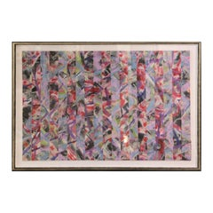 Untitled Abstract Contemporary Gestural Pink and Red Woven Mixed Media Painting