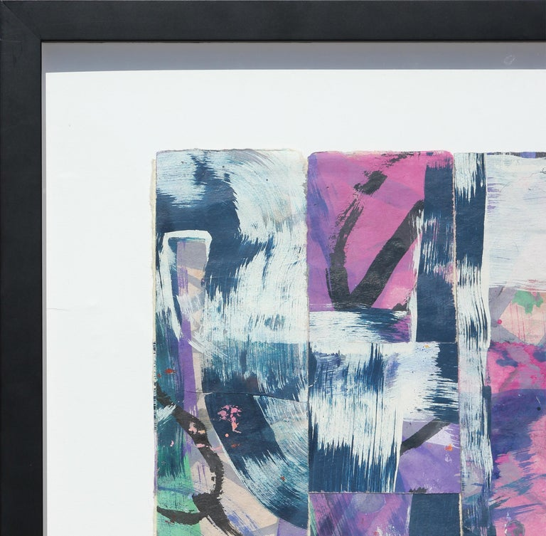 Abstract gestural pink and purple woven mixed media painting by Texas artist, Ibsen Espada. The painting incorporates gestural strokes of purple, blue, white, and green. Currently it is displayed floating behind glass in a black frame.  Dimensions