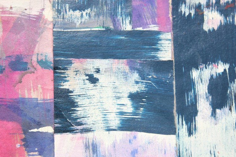 Untitled Abstract Contemporary Gestural Pink & Purple Woven Mixed Media Painting 1