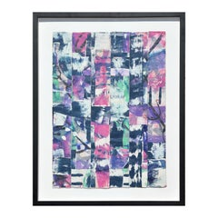 Untitled Abstract Contemporary Gestural Pink & Purple Woven Mixed Media Painting