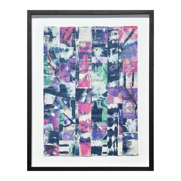 Untitled Abstract Contemporary Gestural Pink & Purple Woven Mixed Media Painting - Mixed Media Art by Ibsen Espada