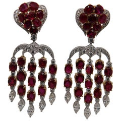 ICA Certified 15.28 Carat Burmese Unheated Ruby and Diamond Earring in 18K Gold