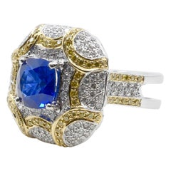 ICA Certified 1.74Cts Ceylon Heat Sapphire Ring, White and Fancy Yellow Diamonds
