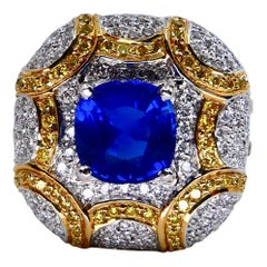 ICA Certified 1.74Cts Ceylon Heat Sapphire Ring with White and Yellow Diamonds