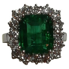 ICA Certified 5.50 Carat Natural Emerald Diamond Ring 18 Carat White Gold