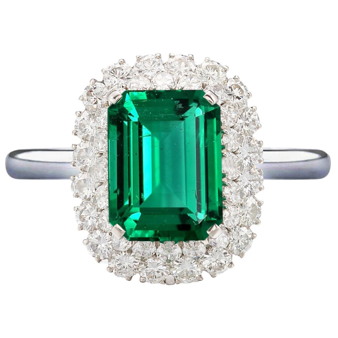 Certified 3 Carat No Oil Green Zambian Emerald Diamond Cocktail Platinum Ring