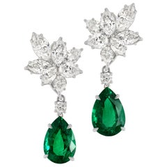 4 Carat Pear Cut Emeralds and Pear Cut Marquise Diamond Dangle Earrings