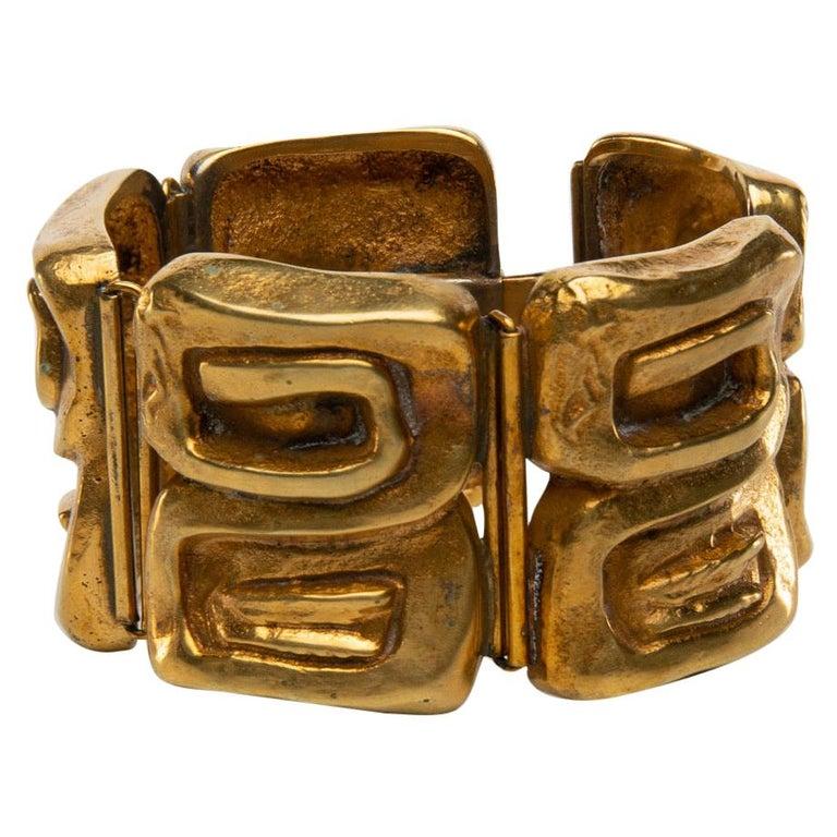 """Icare"" Gilded Bronze Bracelet, Line Vautrin 'France' For Sale"