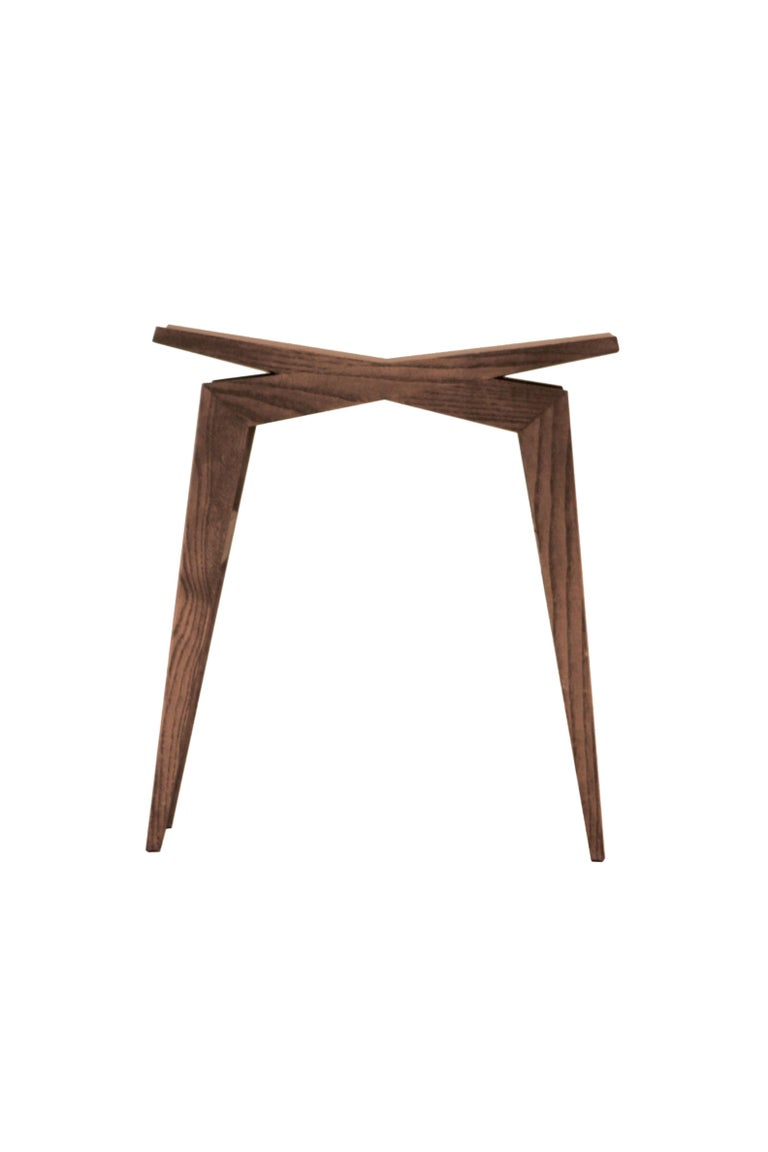 Icaro, Contemporary Low Stool Made of Solid Ashwood 2