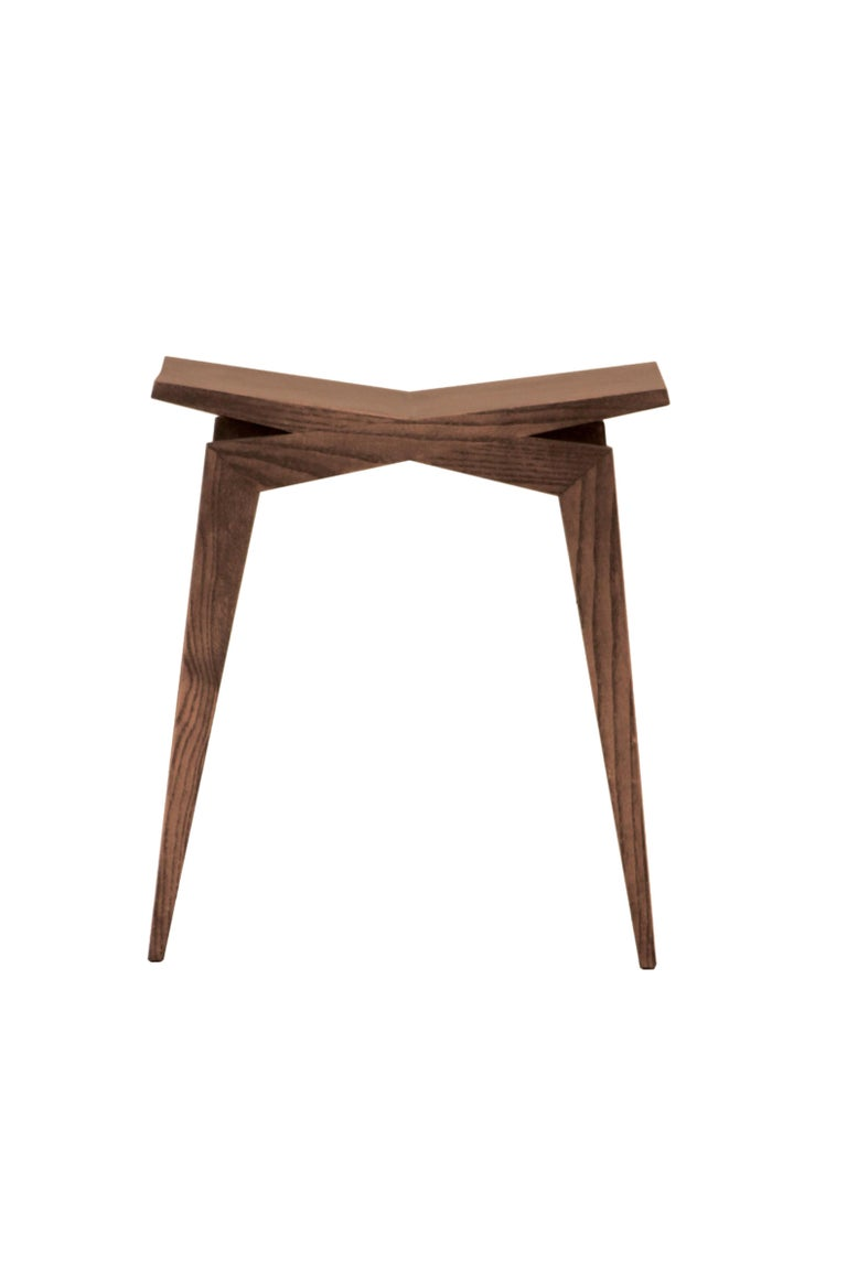 Icaro, Contemporary Low Stool Made of Solid Ashwood 3