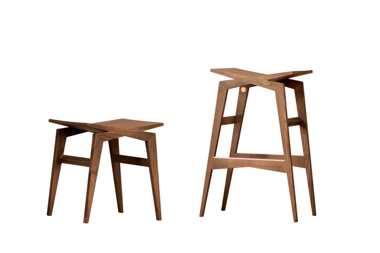 Icaro, Contemporary Low Stool Made of Solid Ashwood 4