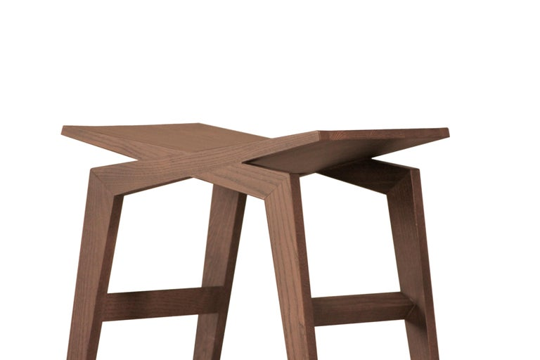 Icaro, Contemporary Low Stool Made of Solid Ashwood 5