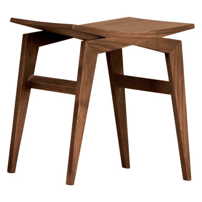 Icaro, Contemporary Low Stool Made of Solid Ashwood 1