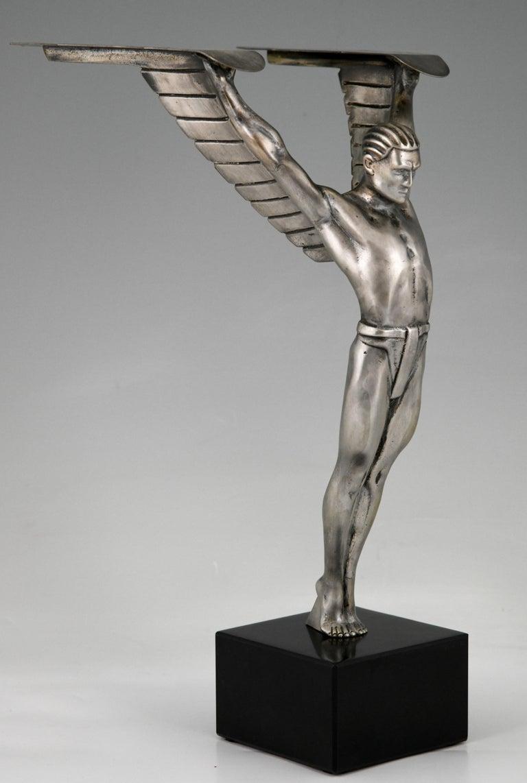 Icarus Art Deco Bronze Sculpture of a Winged Athlete Style of Schmidt Hofer For Sale 4