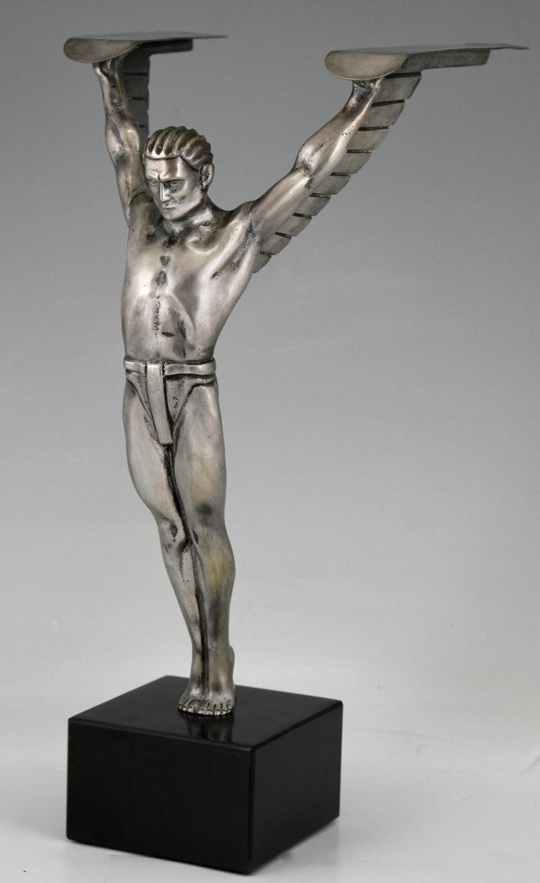 German Icarus Art Deco Bronze Sculpture of a Winged Athlete Style of Schmidt Hofer For Sale