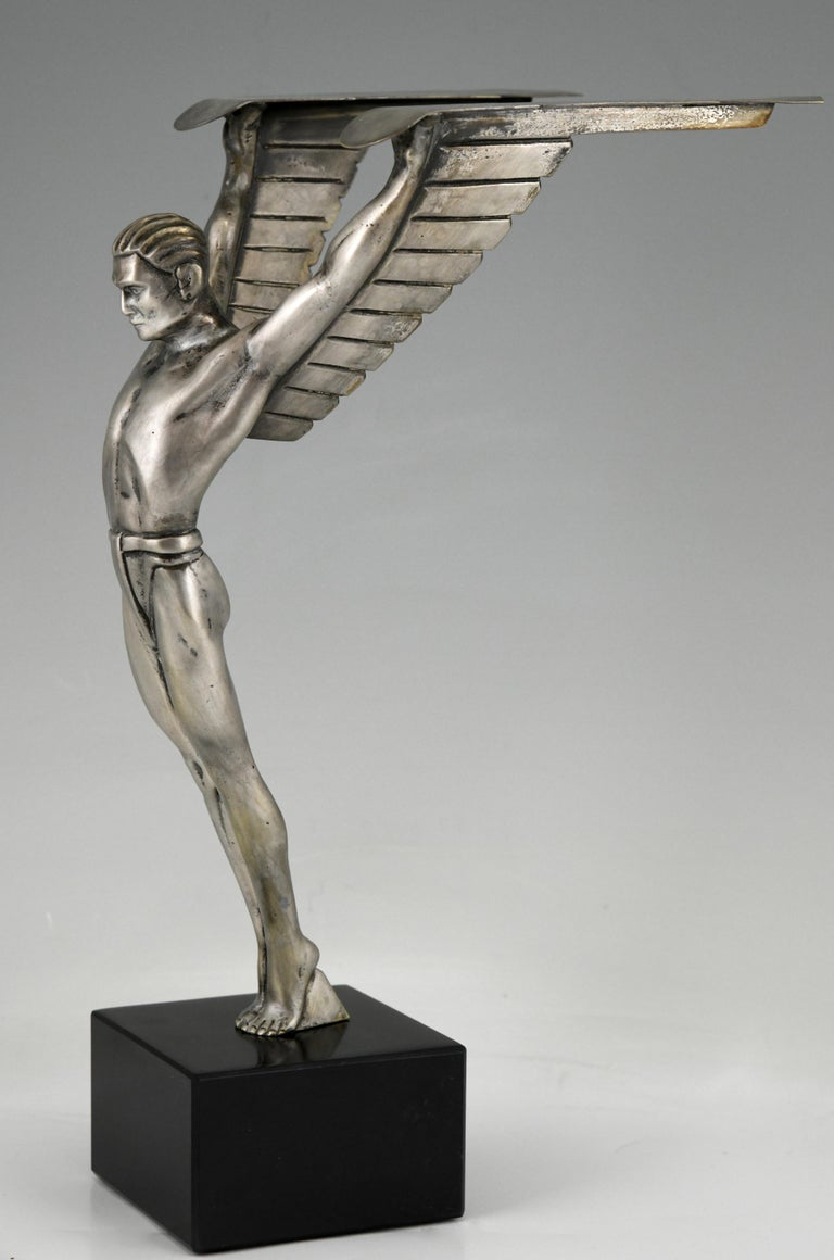 Silvered Icarus Art Deco Bronze Sculpture of a Winged Athlete Style of Schmidt Hofer For Sale