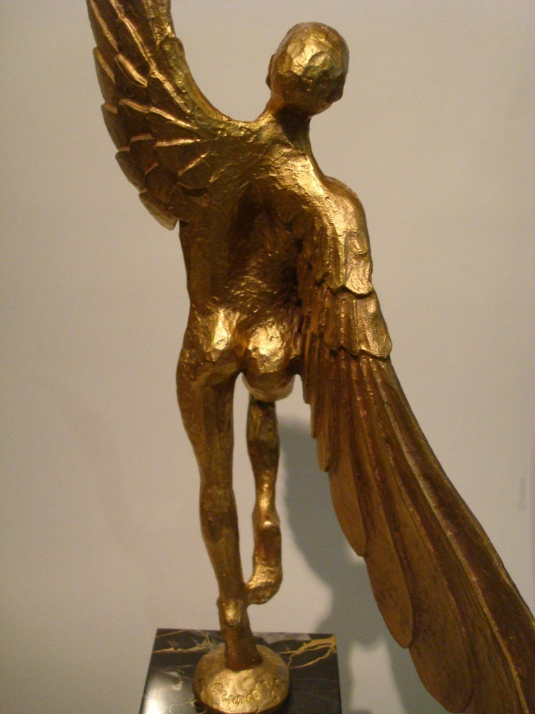 Icarus, Art Deco Metal Sculpture of an Athletic Man with Stylized Wings For Sale 3
