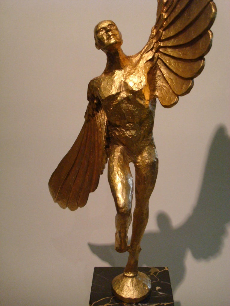 Gilt Icarus, Art Deco Metal Sculpture of an Athletic Man with Stylized Wings For Sale