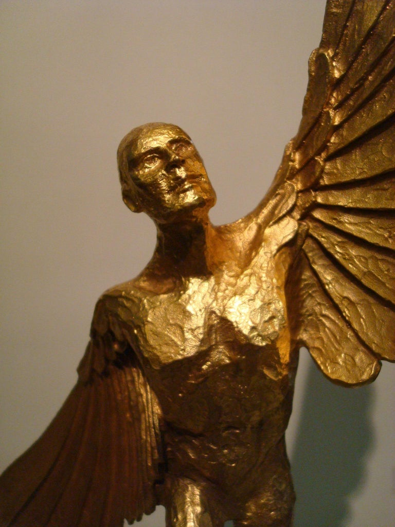 20th Century Icarus, Art Deco Metal Sculpture of an Athletic Man with Stylized Wings For Sale
