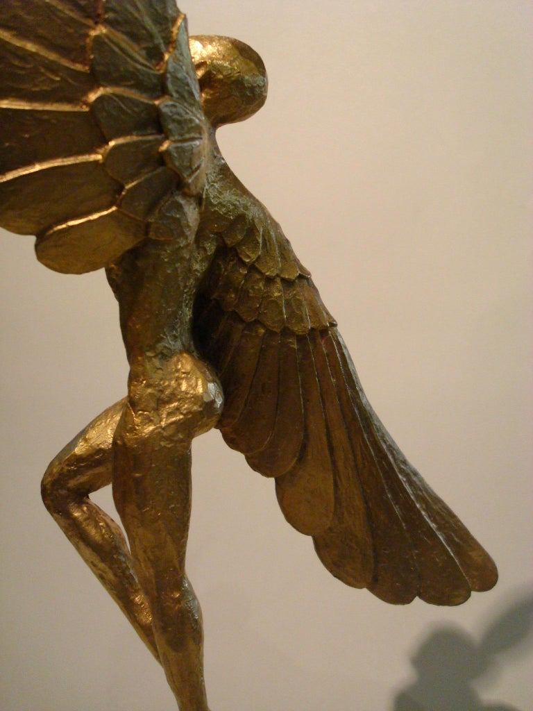 Icarus, Art Deco Metal Sculpture of an Athletic Man with Stylized Wings For Sale 1