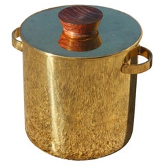 Ice Basket in Brass with Wooden Rosewood, 1950s Italy, Mid-Century Modern Gold